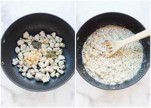 Procese las fotos para saltear el pollo con especias y ajo, y luego agregue la crema y el caldo de pollo a la sartén.