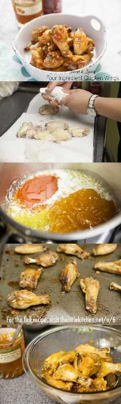 {¡tan fácil y tienen un sabor increíble!} Alitas de pollo de cuatro ingredientes dulces y picantes de thelittlekitchen.net