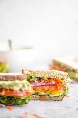 O melhor e mais fácil sanduíche vegetariano: com hummus, abacate e todos os legumes saudáveis e frescos que você gosta!