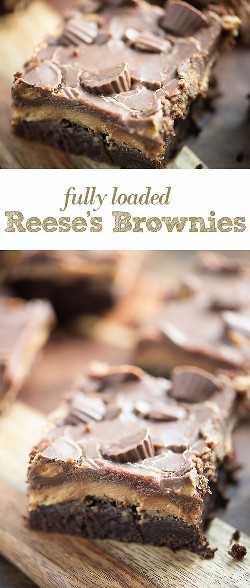 Esses brownies Reese são grossos, os brownies de chocolate são cobertos com uma cobertura grossa de manteiga de amendoim, chocolate extra e alguns doces Reese. Eles são um brownie favorito para os amantes de manteiga de amendoim!
