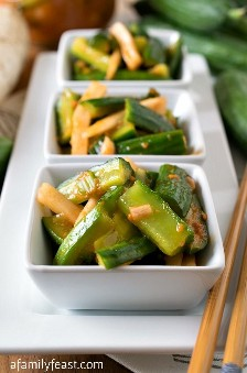 Korean-style marinated cucumbers: a family party