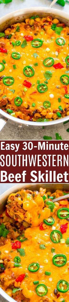Frigideira de carne fácil do sudoeste de 30 minutos: FÁCIL, familiar, pronto em 30 minutos e CONFORTO DE ALIMENTOS no seu melhor! Carne moída, MASSA, feijão preto, tomate, temperos de taco e queijo para um toque do sudoeste!