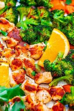 Gingerbread Orange Chicken and Vegetables Leaf - Rápido, FÁCIL, SAUDÁVEL e carregado com excelente sabor a laranja e gengibre! Uma comida deliciosa de uma frigideira com limpeza zero, perfeita para noites agitadas!
