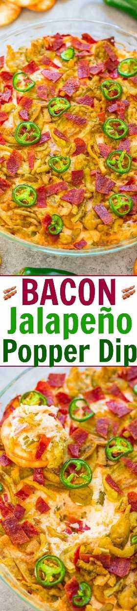 Bacon Jalapeño Popper Dip - O mesmo sabor que os jalapeños envoltos em bacon, menos o trabalho! Cremoso, QUEIJO, carregado com bacon e coberto com jalapeños crocantes! Rápido, FÁCIL, perfeito para festas!