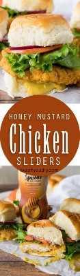 """Estou obcecado com esses sliders crocantes de mel e frango com mostarda! O molho de mostarda doce e picante de mel é incrível! """"Width ="""" 293 """"height ="""" 1000"""