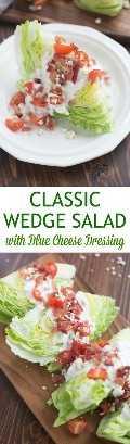 ¡Ensalada clásica de cuña cargada de tocino, tomates y un aderezo de queso azul casero cremoso e increíblemente delicioso! El   Sabe mejor desde cero