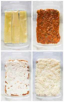 Cuatro fotos de proceso para estratificar lasaña, comenzando con fideos, con salsa de carne, salsa bechamel y queso.