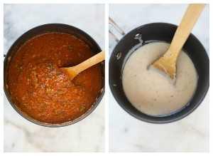 Fotos lado a lado de salsa roja y salsa bechamel para lasaña.