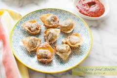 Pesto Caprese Fried Wontons de thelittlekitchen.net