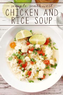 Você pode fazer esta simples sopa de frango e arroz do sudoeste em um piscar de olhos! Leve, fácil e delicioso! # 15 receitas #ad
