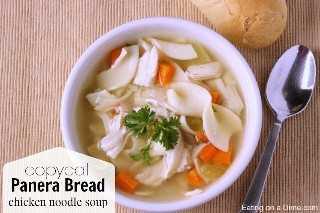 pan de panera pollo sopa de fideos