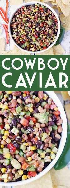Caviar de caubói - O caviar de caubói (também conhecido como molho de caubói) é perfeito para alimentar uma grande multidão em Cinco de Mayo, terça-feira de taco, ou em qualquer dia que exija batatas fritas e salsa incríveis! O | halfscratched.com