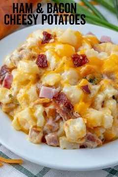 Imagen pinterest de Papas con queso y jamón y tocino