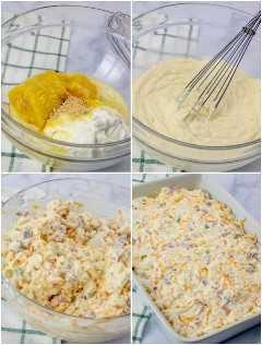 Papas con queso y jamón y tocino en tomas de proceso