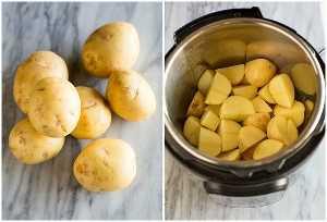 Foto de arriba de tres libras de papas doradas de yukón en una tabla de mármol, junto a otra foto de arriba de una olla instantánea llena de papas, cortada en cuartos.