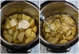 Procese de lado a lado fotos de puré de papas hechas en la olla instantánea con las papas cocidas y cortadas en cuartos con mantequilla y crema agria en la parte superior en una foto, y las papas en la siguiente foto.