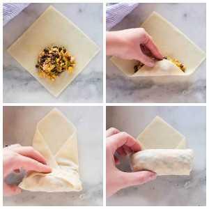 Procese fotos sobre cómo llenar y enrollar una envoltura de rollo de huevo