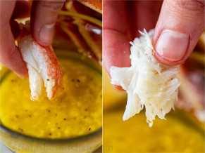 Carne de caranguejo mergulhada em molho de caranguejo caseiro