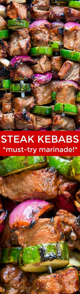 Estes kebabs grelhados são suculentos e deliciosos! É marinado durante a noite, tornando os kebabs de carne macios e saborosos. O | natashaskitchen.com