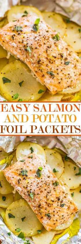 Paquetes fáciles de papel de salmón y papa - ¡Salmón jugoso y húmedo cargado de sabor! ¡Listo en 30 minutos, cero limpieza y una forma infalible de cocinar salmón y parecer un cocinero gourmet!