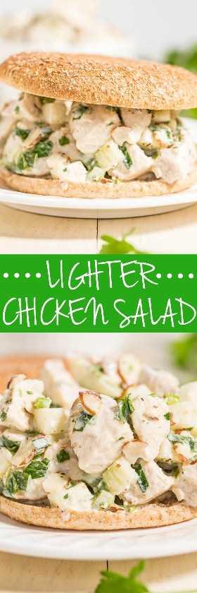 Ensalada de pollo saludable: esta receta de ensalada de pollo saludable está hecha con yogur griego en lugar de mayonesa y está llena de sabor gracias a las cebollas verdes, la manzana y las especias.