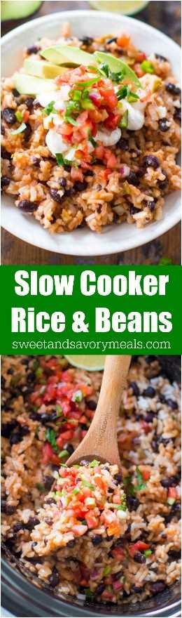 Slow Cooker Rice and Beans es el acompañamiento perfecto o una comida vegetariana que puedes preparar en la olla de cocción lenta con solo unos pocos ingredientes.