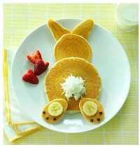 50+ almoços artísticos para crianças - Panquecas de coelho