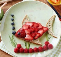 Mais de 50 almoços artísticos para crianças: peixe com sabor a frutas
