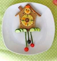 Mais de 50 almoços artísticos para crianças: almoço com relógio de cuco