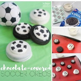 Occer themed birthday party for kids or post practice treat! Chocolate Covered Football Oreos are an easy dessert recipe and guarantee crowd delight!