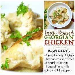 Los ricos aromas de ajo se mezclan con la delicada leche cremosa en este plato simple pero abundante: ¡el pollo georgiano es un clásico por una razón!