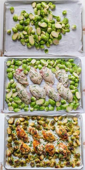 tutorial sobre cómo recortar las coles de Bruselas y hacer pollo en sartén y coles de Bruselas para una cena de pollo en una sartén