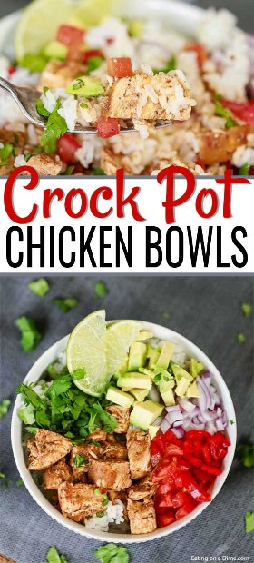 Desfrute do seu prato de frango favorito com esta receita de tigela de frango Crock Pot Chipotle. Todos podem personalizar seu prato ao seu gosto para a refeição perfeita.
