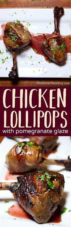 ¡Estas piruletas de pollo asado serán la estrella de su próxima cena o fiesta y el glaseado de granada es delicioso fuera de este mundo!
