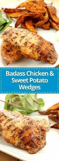 Frango Badass e Batatas Fritas com Batatas Fritas | # batata-doce # frango # receita saudável