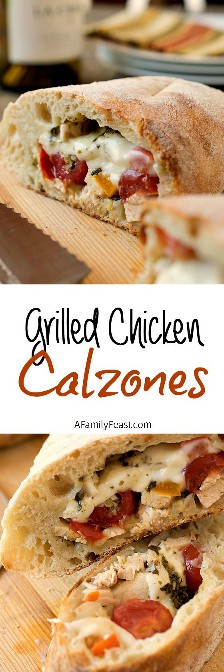Grilled Chicken Breeches - destined to become a family favorite! Pizza dough stuffed with grilled chicken, roasted red peppers, cheese and bechamel. So easy and so delicious!