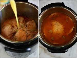 Processe fotos para fazer sopa de enchilada de frango na panela instantânea, incluindo derramar o caldo de galinha sobre a galinha na panela e adicionar tortilhas de milho.