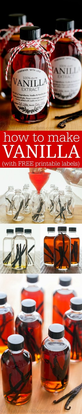 ¡Aprende a hacer extracto de vainilla con 2 ingredientes! El extracto de vainilla casero será su ingrediente secreto para hornear. ¡La mejor receta de extracto de vainilla! El | natashaskitchen.com