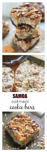Barras de galletas de avena y Samoa: estas barras suaves de galletas de avena combinan los amados sabores de caramelo, chocolate y coco de las galletas Samoa Girl Scout.