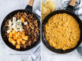 Cheese sausage dip ingredients in skillet before and after melting and combining.
