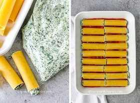 Imagen de la izquierda: canelones rellenos de queso. Imagen de la derecha: canelones rellenos de queso forrados en una cacerola.