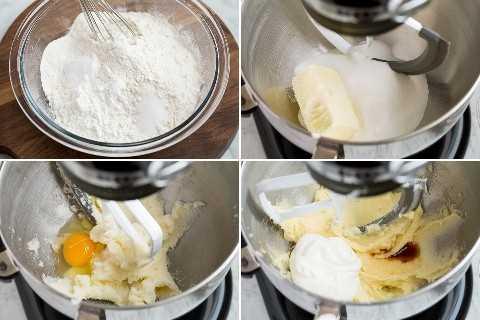 Mostrando los primeros cuatro pasos para hacer galletas de azúcar esmeriladas suaves.