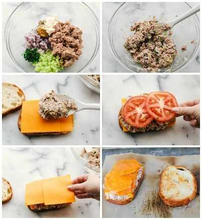 El proceso de mezclar la mezcla de atún y luego superponer el sándwich con queso y tomates en seis fotos diferentes.