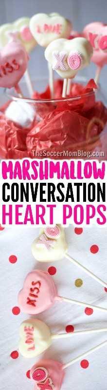¡Los Pops de Marshmallow Heart de Conversación bañados en chocolate son bastante fáciles de hacer para los niños y son absolutamente adorables regalos para el Día de San Valentín!