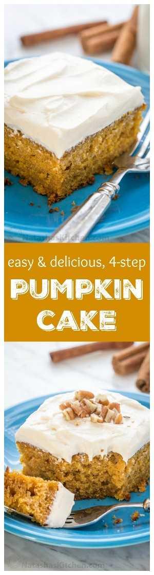 ¡Este pastel de calabaza fácil se hace en 4 pasos (con glaseado)! ¡El glaseado húmedo y delicado de queso crema y malvavisco es irresistible!