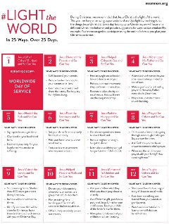 Calendario de la campaña LIGHTtheWORLD página 1 #lighttheworld