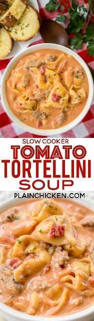 Sopa de tortellini de tomate y olla de cocción lenta: ¡realmente deliciosa! A todos les ENCANTÓ esta receta de sopa sin complicaciones. Simplemente arroje todo en la olla de cocción lenta y deje que haga su magia. ¡Sirva sopa con un poco de pan crujiente para una comida fácil durante la noche que toda la familia disfrutará! El caldo de pollo, la sopa de tomate, los tomates cortados en cubitos, la salchicha italiana, el queso crema de cebollino y cebolla y los tortellini de queso se combinan para hacer la MEJOR sopa de tomate.