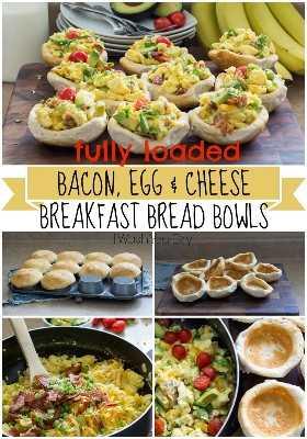 Tazones de pan de desayuno con queso y tocino