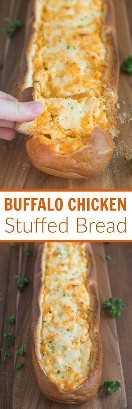 Pão Recheado de Frango com Búfalo: Pão artesanal crocante recheado com molho de frango com búfalo é um aperitivo perfeito para uma festa ou dia de jogo. Tem um sabor melhor do zero