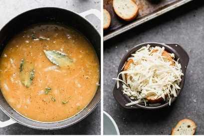Una olla de sopa de cebolla francesa junto a un tazón con sopa cubierta con pan y queso rallado.
